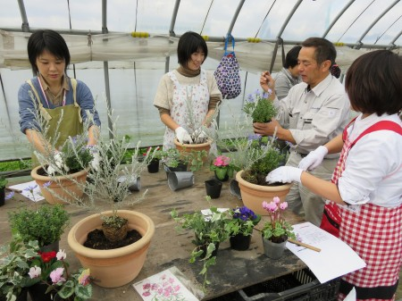 すべての花が綺麗に見えるように 植え方を教わりました(^^)v