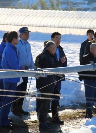 山田啓二京都府知事が綾部市の茶園に現場視察に来られました。